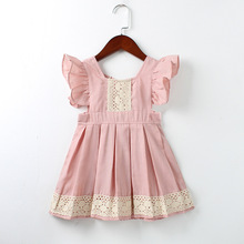 2017 New Arrival Direct Selling Princess Style Summer Dress Girls Lovely Color Dresses For Wedding Girl Clothes trimmed With(China)
