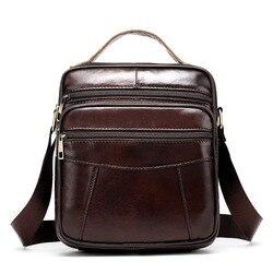 Мужская сумка-мессенджер из натуральной кожи, на молнии