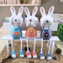 Three rabbit doll Home Furnishing decoration cartoon at the living room cabinet shelf small ornaments