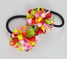 TS New 2015 Ribbon Bow Hair Tie Rope Hair Band Colorfully Boutique Bows Elastic Hair band for girl and woman hair Accessories
