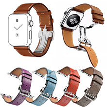 Single Tour Genuine Leather Wristband for Apple Watch Band Strap for iWatch Bracelet 42mm 38mm Metal Deployment Buckle Watchband(China)