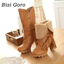 BISI GORO 2017 new autumn winter women riding boots female high heels thick heel leather women boots lace up high boots