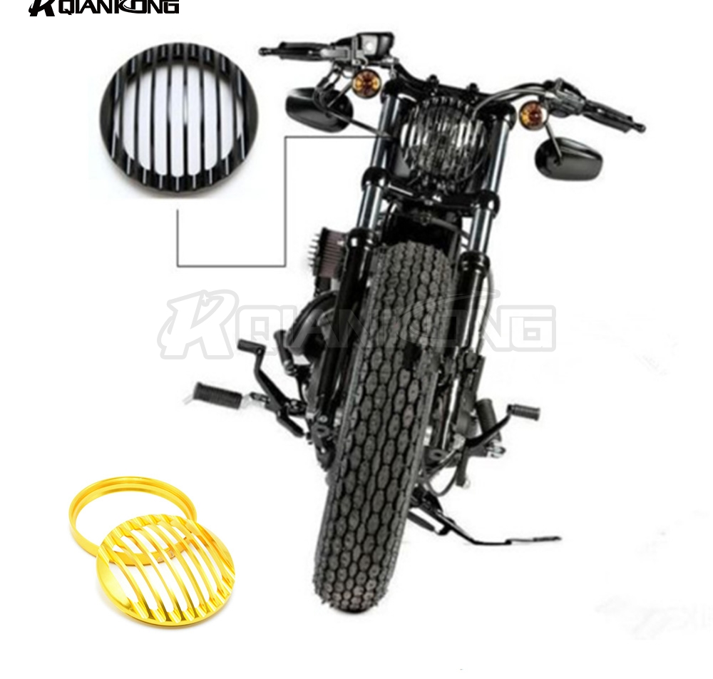 R QIANKONG Harley Motor accessorie 5 3/4 CNC Black Grill Cover For Harley Davidson 5.75 Head Light Cover Sportster XL 883 1200<br>