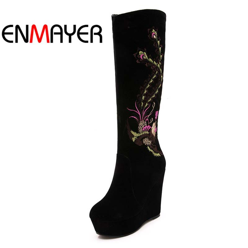 ENMAYER Over Knee Boots Embroidery Female High-Heeled Boots Long Snow Boots Women Winter Shoes Wedged Side Zipper Platform Boots<br><br>Aliexpress
