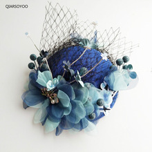Vogue Ladies Cocktail Fruit Fascinator Hat Blue Beige Silk Felt Flower Wedding Party Hat Hair Clip For Women Party Headdress