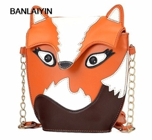 New Fashion Women Leather Handbag Cartoon Bag Fox Shoulder Bags Women Messenger Bag Orange