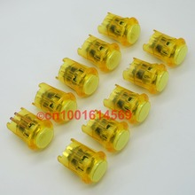 10pcs 5V New Reyann 30mm Arcade Buttons LED Illuminated Arcade Fight Button For Coin Operator Cabinet & Arcade Sticks - Yellow(China)