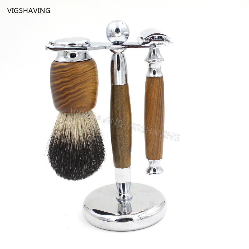 Verawood  Wood Pure Badger Shaving Brush and DE Safety Razor set<br>