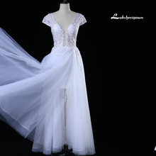 Modest V Neck Backless Wedding Dresses 2017 White Ivory Sweep Train Sexy Back wedding Gowns Custom Made robe de mariage(China)