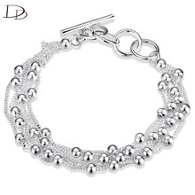 fashion girl large chain bracelets rope uomo 6 string link beads wristband women bangle jewelry silver color bijou gift INE065