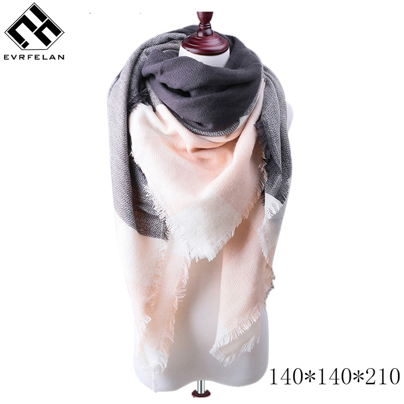 New Fashion Winter Scarf For Women Warm Brand Scarf Luxury Plaid Cashmere Scarves Women Triangle Bandage Bufanda Wholesale(China)