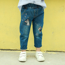Boys and Girls Jeans  Spring and Autumn New Embroidery Cat Children Trousers 2-8 Ages