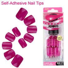 24pcs Full Cover Violet Self-Adhesive Nail Polish Tips Glued Dark Purple Pink False Nail Pure Color French Manicure Nails RCP-30(China)