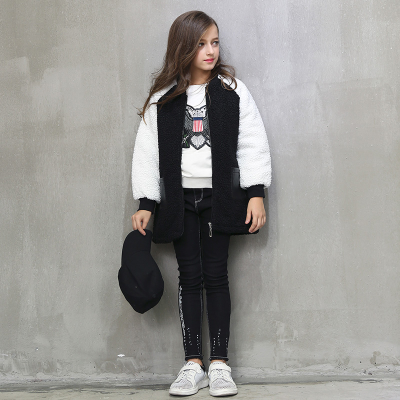 2017 Girls Winter Fur Jacket Warm Sport Coat for Teenage Shcool Kids New Year Clothes 6 7 8 9 10 11 12 13 14 15 16 Years Old<br>