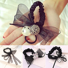 Black Lace Bow Tie Hair Band Rope Scrunchie Ponytail Holder Headband Headwear hot