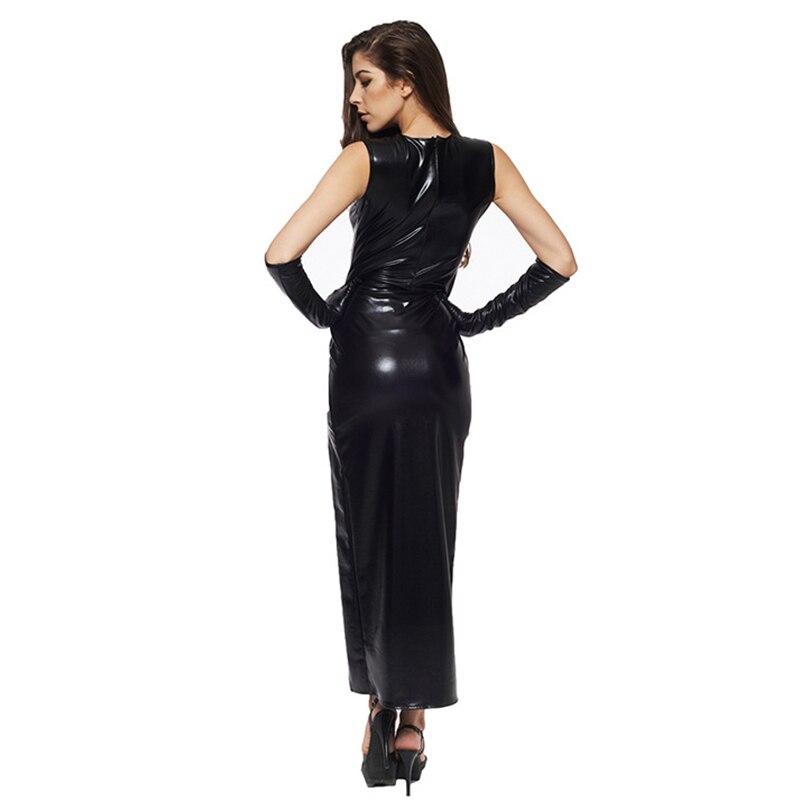 Sexy Fetish Black Vinyl Leather Bodysuit Lingerie Dress Erotic Bondage Latex Long PU Dress and Gloves Clubwea 3
