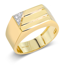 Gem stone king 10K Solid Yellow Gold Men's Ring 0.03 Cttw White Diamond Wedding Anniversary Fine Jewelry Ring for women(China)