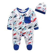 Baby Boys Romper Casual Long Sleeve Baby Rompers 2017 Cartoon Car Airplane Printed Puppy Playsuits + Baby Hats Set(China)