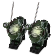 2pcs Wrist Watch Ear Tools Walkie Talkie Toys Intercom 7 In 1 Walkie Talkie Watch Camouflage Style Children Kids Electronic Toys(China)