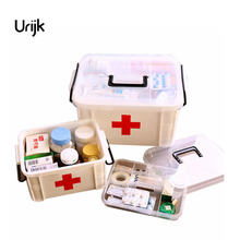 Urijk Portable Medicine Chest Cabinet Health Care Plastic Drug First Aid Kit Box Storage Boxes Drawers Family Home Accessories
