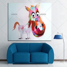 Frameless Horse Pictures Oil Painting On Canvas Abstract Lovely pony Wall Art For Office Decoration Home Wall Decor Handmade(China)