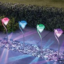 4pcs Stainless steel Solar Light Waterproof LED colorful Solar Lawn Lamp Diamond Style Outdoor Garden Yard Lamp(China)