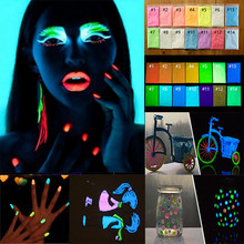 10g Glitter Phosphor Coating Chrome Nail Art Photoluminescent Dust Glow in Dark Luminous Fluorescent Powder Pigment 17 Colors
