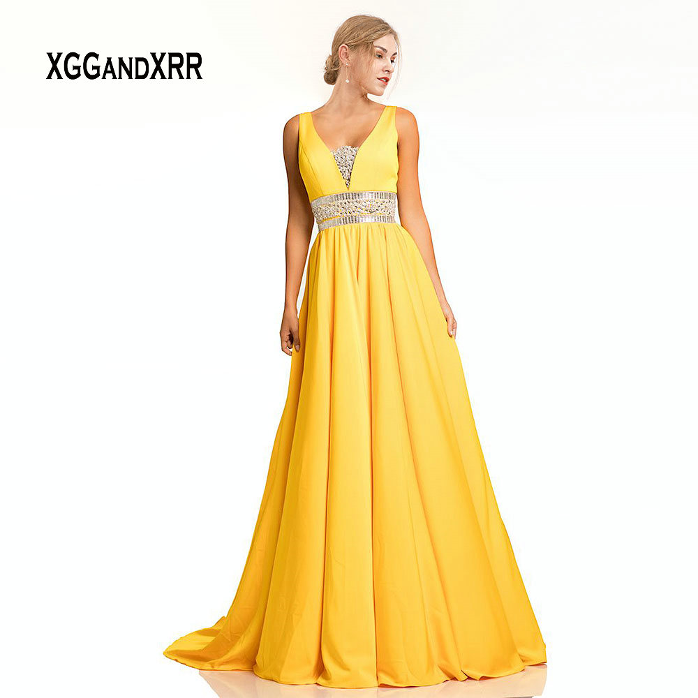 Yellow Prom Dress 2019 Beading Crystal Sweep Train Long Evening Gown V Neck Backless Formal Lady Gala robe de soiree Plus Size