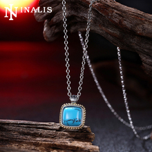 2017 High Grade White Gold/Black Gold Color Chain Necklaces Vintage Turquoises Stone Pendant Necklace Costume Jewelry for Women(China)