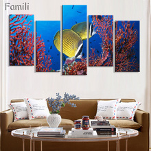 5Piece Modern Painting Home Decorative Art Picture Paint on Canvas Prints The fascinating underwater world For living room