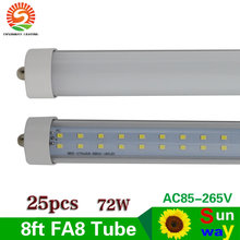 Super Bright Single Pin FA8 Led Tube Lights 72W 2400mm Led Lamp For Residential/institution buildings Indoor Lighting 25pcs