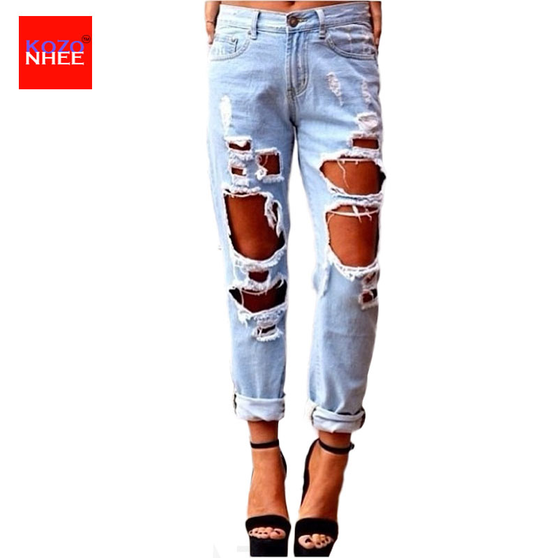 Women Plus Size Ripped Boyfriend Jeans Casual Washed Holes Ankle-Length Denim Jeans Sky Blue White Trousers Female Pants