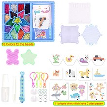 high quality Aqua Beads 18 Colors kits Sticky Perler Beados Pegboard Set Fuse Water Beads Jigsaw Water Beads Bond Toy Puzzle(China)