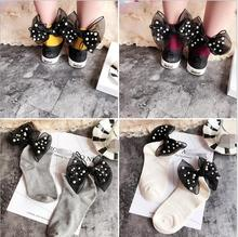 2017 Beads lace Bow tie Harajuku goth punk series cool female essential hollow short socks women sexy socks(China)