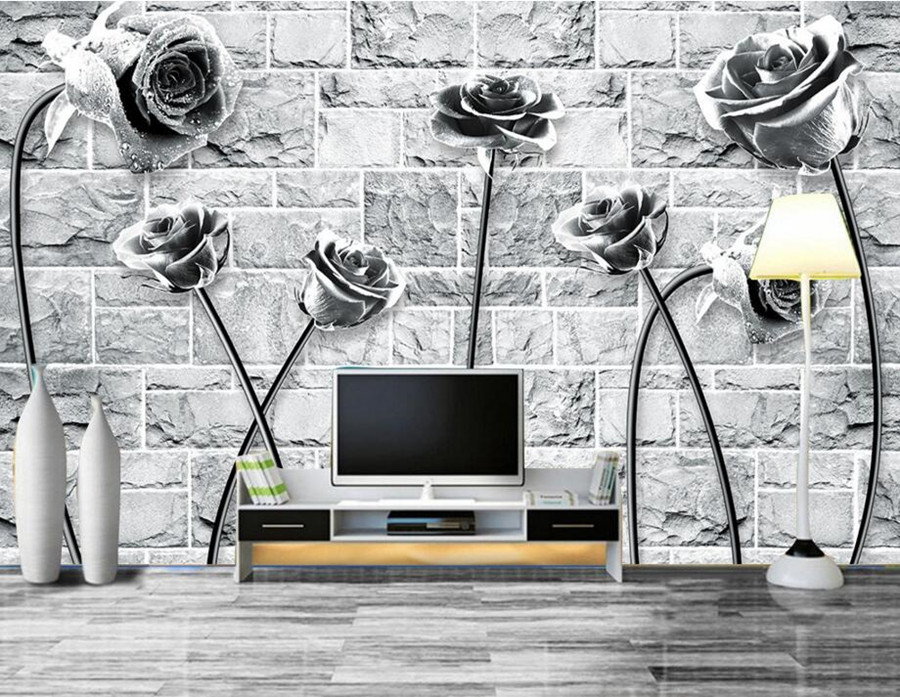 Custom 3D large mural,Black and white noble romantic rose modern wallpaper,living room sofa TV wall  bedroom papel de parede<br>