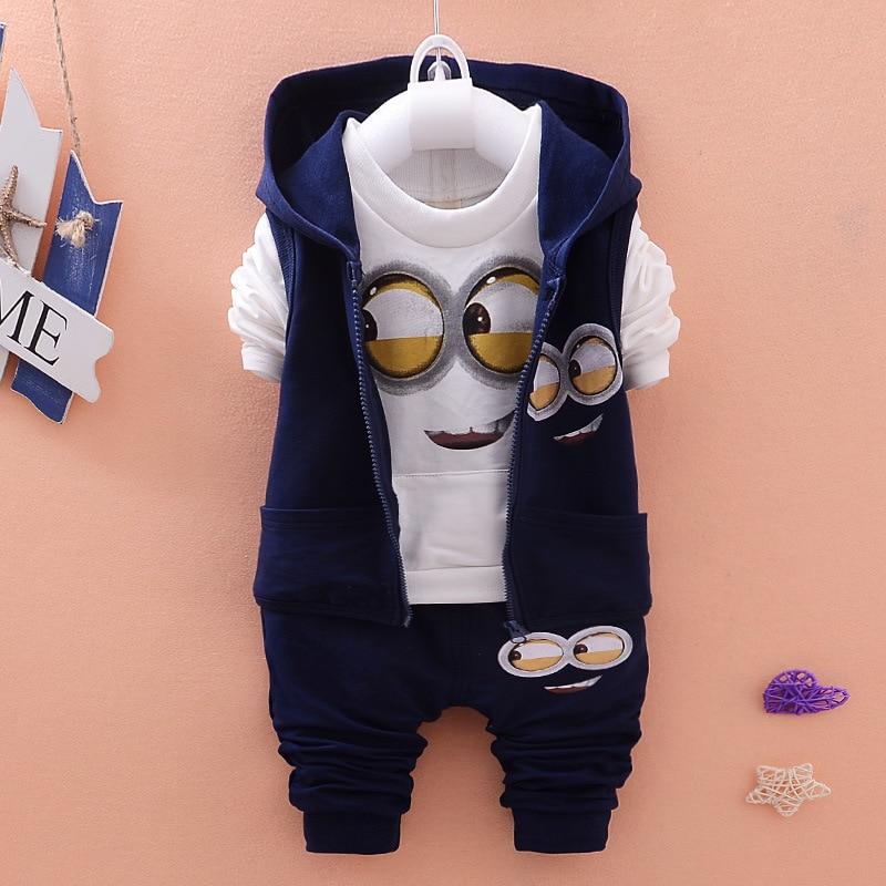 Newest 2015 Autumn Baby Girls Boys Minion Suits Infant/Newborn Clothes Sets Kids Vest+T Shirt+Pants 3 Pcs Sets Children Suits<br><br>Aliexpress