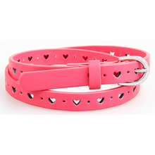 High quality children's belt kids belt with heart shipped holes pu kids waist belts fast delivery(China)