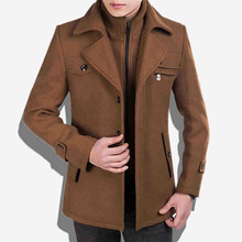 The New Men  Wool Coat Long Thicker Jacket Thick Youth Warm High - Quality Fabrics Within The Collar Can Be Removed MK629