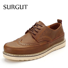 Buy SURGUT High Casual Shoes Men British Style Carved Genuine Leather Shoes Brown Brogue Shoes Lace-Up Comfortable Men Shoes for $30.91 in AliExpress store