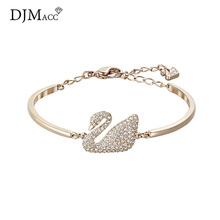 DJMACC 2017 New Style Fashion Jewelry Luxury Black And White Crytal Swan Adjustable Bracelets For Women Christmas Gift(DJ1126)(China)