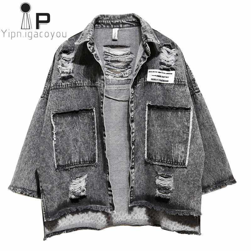 124d8b26272e Harajuku осень короткая джинсовая куртка для женщин 2018 корейский женский  Винтаж Свободные красный черный основы