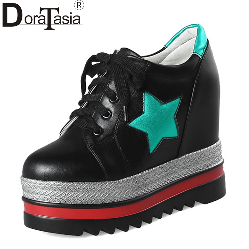 DoraTasia Womens High Heels Hidden Wedges Lace Up Round Toe Platform Sneakers Casual Shoes Oxfords<br>