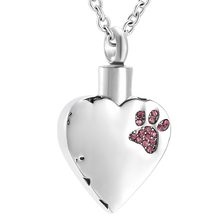 Crystal Pet paw Inlay Heart Shape Cremation urn Necklace Memorial Ashes Holder Keepsake(China)