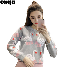 Autumn and Winter Fashion Sweater Girl loose sleeve head sweet tide color rendering thick cute preppy sweaters Swan(China)