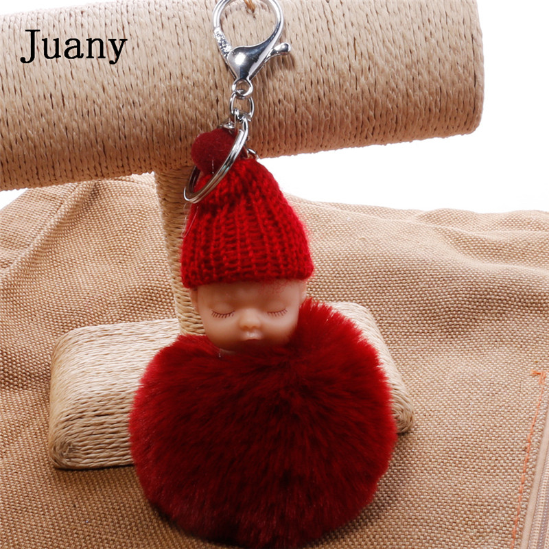pompom key chain sleeping baby key chain cut rabbit fur ball keychain car key ring women keychian bag charm porte clef12