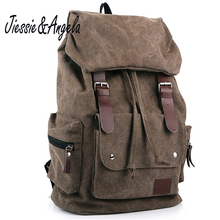 Jiessie & Angela new fashion backpack casual men backpacks men fashion bags vintage school bags brand canvas rucksack men's(China)