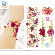 VT365/Latest 2016 High quality body temporary gold silver foil metallic flash tattoos rose bracelet tatoo