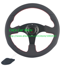 Free Shipping: Universal Car steering wheel 350mm Racing Steering Wheel Leather Car Steering Wheel 14'' With Red Stitching(China)