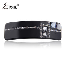 Black PVC Hair Jewelry Rectangle Hair Barrettes Crystal Rhinestone Hair Accessories For Women Girls Clips Tiara (DY810003)