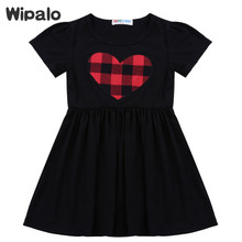 Wipalo Short Sleeve Black Baby Girls Summer Dress 2017 Heart Print A Line Party Dress Kids Clothes Casual Beach Dress Vestidos(China)